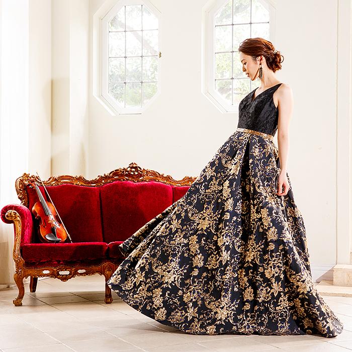 ゴージャスAラインのロングドレス